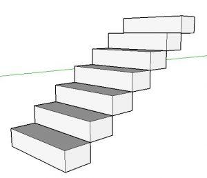 degraus multiplicados da escada no sketchup