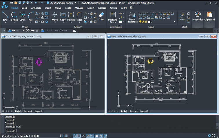 Interface software ZWCAD
