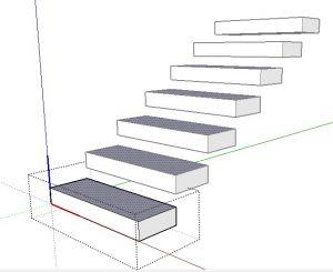 degraus menores da escada no sketchup