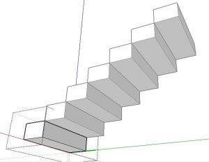 visão inferior da escada no sketchup
